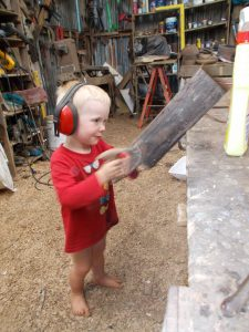 Grandson Henry discovers saws and demolishes my workshop