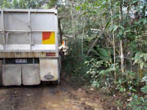 truck falling into dam